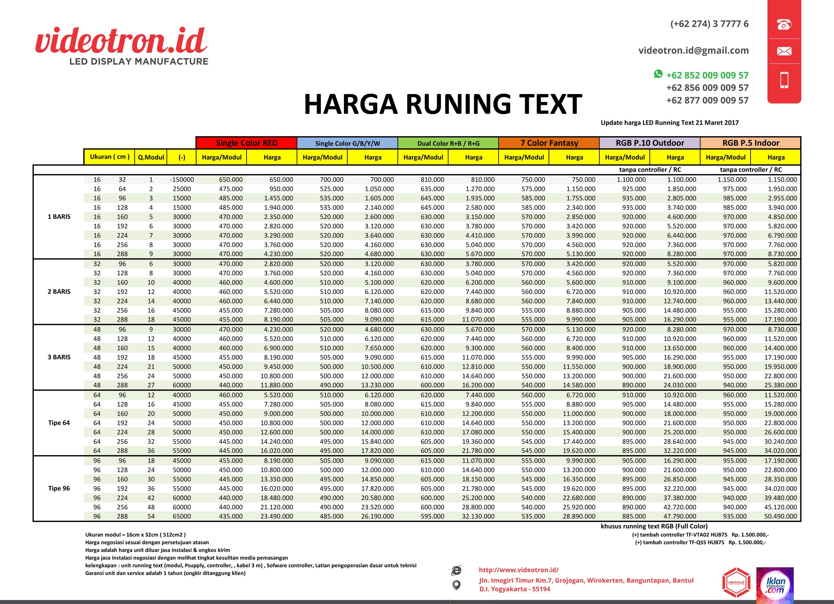 Harga Running Text Dan Cara Pembuatannya